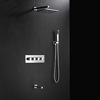 HPB Contemporary Chrome Brass Shower Faucet with Air Injection Technology Shower Head