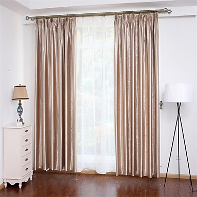 Curtains Drapes Bedroom Solid Colored 100% Polyester Polyester Embossed