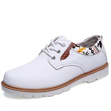 גברים נעליים עור חורף אביב קיץ סתיו נוחות שטוח שרוכים ל קזו'אל לבן שחור חום כחול