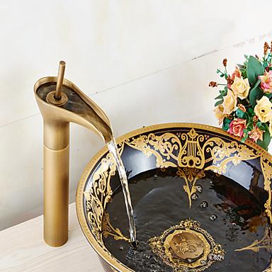 Suvremena Središnje pozicionirane Keramičke ventila Jedan Ručka jedna rupa Antique Brass, Kupaonica Sudoper pipa