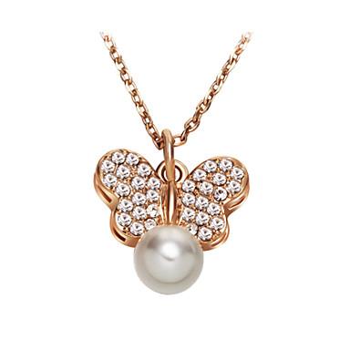 Herrn Damen Schmetterling Tier Gestalten Niedlich Party Büro Freizeit Modisch bezaubernd Anhängerketten Perlenkette Kristall Perle