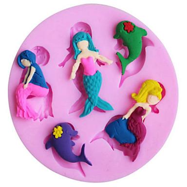 super vakker havfrue delfin silisium fondant muggsopp tragantgummi muggsopp kake dekorere verktøy