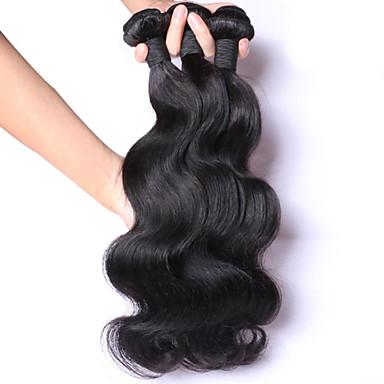 Gerçek Saç Orta Dalgalı Malezya Saçı İnsan saç örgüleri Dalgalı Saç uzatma 3 Parça Simsiyah