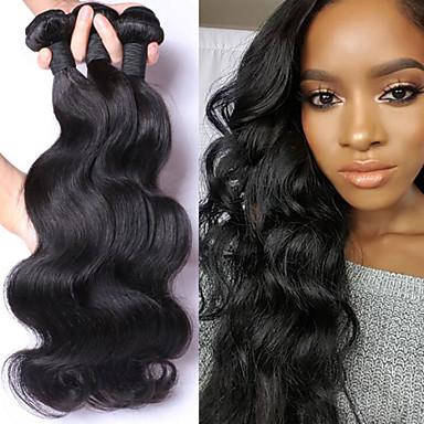 voordelige Weaves van echt haar-3 bundels Maleisisch haar BodyGolf 10A Onbehandeld haar Menselijk haar weeft Bundle Hair Een Pack Solution 8-28 inch(es) Natuurlijke Kleur Menselijk haar weeft uitbreiding Beste kwaliteit Hot Sale