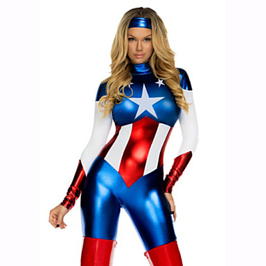 Super Heroes Cosplay Costume Women's Movie Cosplay 2# / 3# / Medium Brown Leotard / Onesie Hat Christmas Halloween New Year Patent Leather PVC(PolyVinyl Chloride)