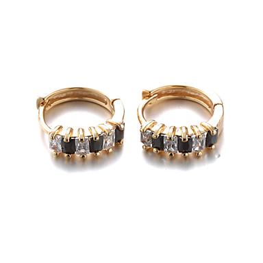 טבעות חישוקים אופנתי זירקון זירקוניה מעוקבת ציפוי זהב זהב 18K תכשיטים ל 2pcs