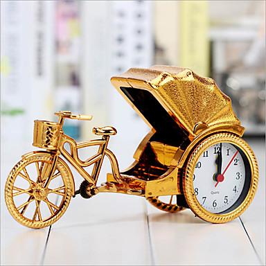 kreative retro Rikscha Alarm Desktop-Dekoration Kunststoff Nachttischuhr