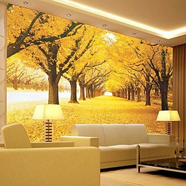 nykyaikainen 3d kivuta nahka vaikutus suuri seinämaalaus taustakuva keltainen metsä art seinä sisustus tv sohva tausta seinä
