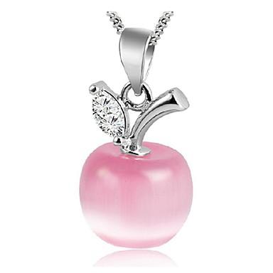 Mulheres Opala / Opal Synthetic Colares com Pendentes - Prata de Lei, Prateado Apple Fashion Branco, Rosa claro Colar Para Diário, Casual