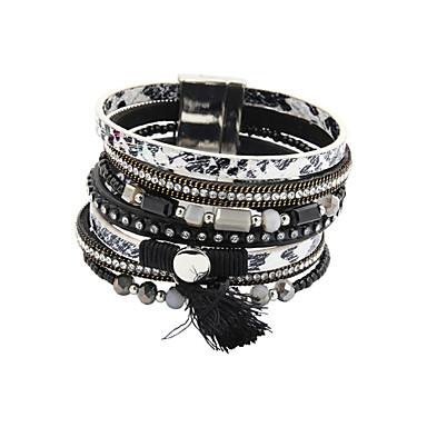Damen Perlenbesetzt Lederarmbänder - Leder, Strass, Diamantimitate Luxus, Einzigartiges Design, Modisch Armbänder Schwarz / Braun Für Hochzeit Party Alltag