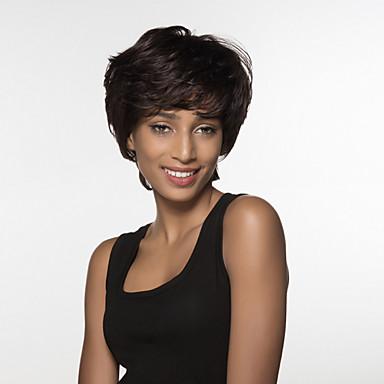myke kort hår kvinners remy menneskehår hånd bundet gjentakelse parykk
