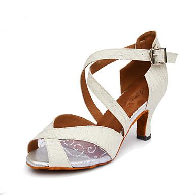للمرأة أحذية رقص بريّق / جلد / ستان كعب مشبك / عقدة شريطة كعب مخصص مخصص أحذية الرقص أسود / فضي / أصفر / داخلي / أداء / تمرين