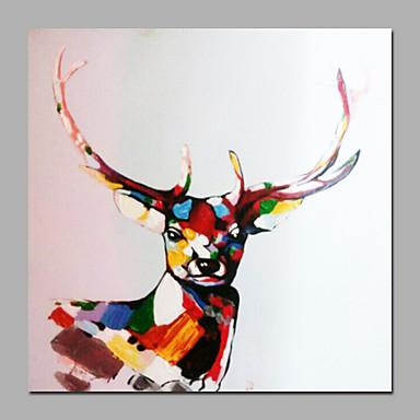 Håndmalte Abstrakt / DyrParfymert / Moderne Et Panel Lerret Hang malte oljemaleri For Hjem Dekor