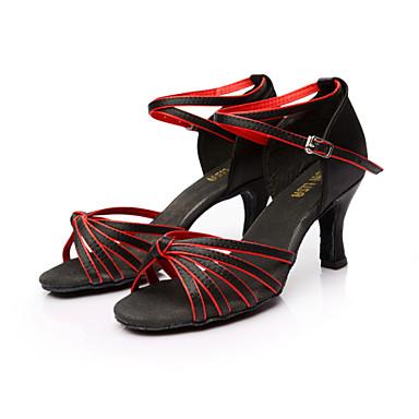 baratos Sapatos de Salsa-Mulheres Cetim Sapatos de Dança Latina / Sapatos de Salsa Presilha Sandália Salto Personalizado Personalizável Marrom / Dourado / Azul Real / Couro / EU40