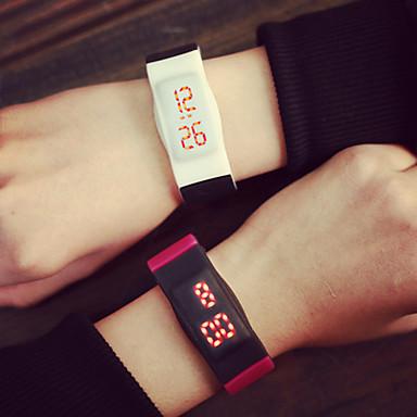 Herre Armbåndsur Digital Watch LED Digital Gummi Band Svart Blå Gul Rose