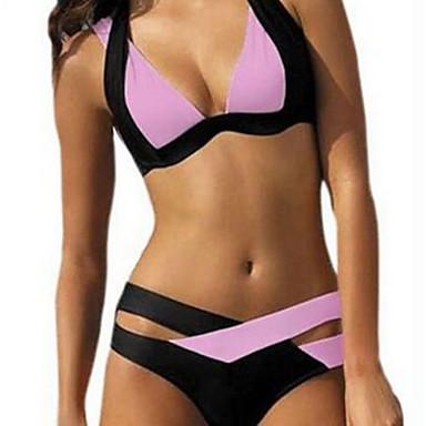 ספורטיבי לנשים בגדי ים נושם / חדירות גבוהה לאוויר (מעל 15,000 גרם) / ייבוש מהיר / דחיסה / תומך זיעה שתי חתיכות פוש אפ מיתריםלבן / ירוק /