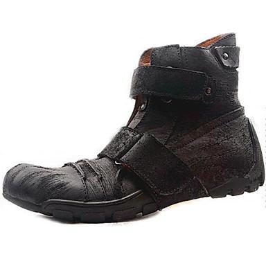 Homens sapatos Pele Napa Inverno Outono Coturnos Botas Cowboy/Country Tênis com Rodinhas Conforto Botas 15,24 a 20,32 cm Botas Curtas /