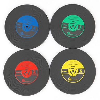 1pcs do vintage porta-copos vinil groovy do cd registro mat bar bebidas mesa copo (cor ramdon)