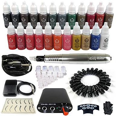 solong Tätowierung Dreh Tattoo-Maschine& Permanent Make-up Stift 50 Nadel Patronen Tintenset Stromversorgung Fußpedal ek102-6