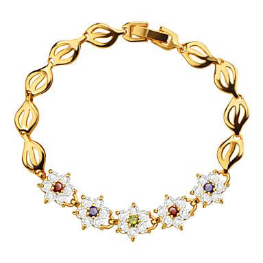Feminino Pulseiras em Correntes e Ligações Cristal Cristal Zircão Chapeado Dourado Dourado Jóias 1peça