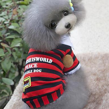 כלב טי שירט בגדים לכלבים פס אדום כחול כותנה תחפושות עבור חיות מחמד בגדי ריקוד גברים בגדי ריקוד נשים יום יומי\קז'ואל אופנתי