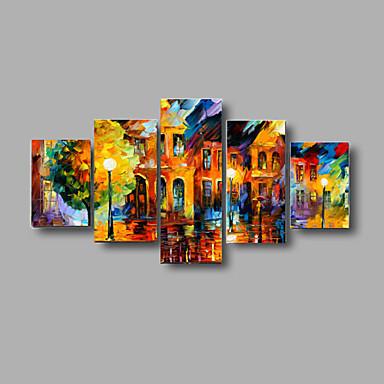 pintados à mão paisagem texturizada pinturas a óleo rua na imagem paleta noite esticada quadro