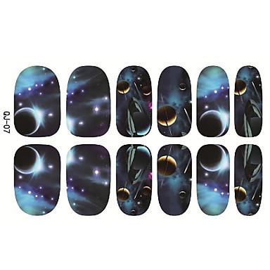 1pcs Bijoux à ongles Bouts  pour ongles entiers Modèle d'estampage d'ongles Quotidien Abstrait Dessin Animé Mode Haute qualité