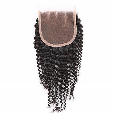8 10 12 14 16 18 20inch 자연 블랙 (#1B) 수작업 Kinky Curly 머리카락 폐쇄 중간 브라운 스위스 레이스 45g 그램 모자 크기