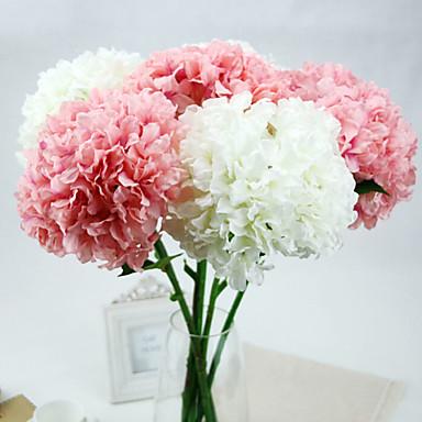 Kunstige blomster 1 Gren Europeisk Stil Hortensiaer Bordblomst