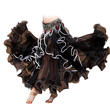 ריקוד בטן חלקים תחתונים בגדי ריקוד נשים ביצועים שיפון קפלים חלק 1 נפול חצאית