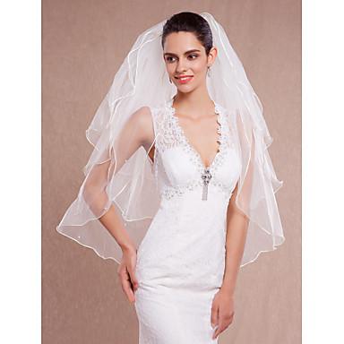 Hochzeitsschleier Drittschichtig Fingerspitzenlange Schleier Gebündelter Rand Tüll Weiß Eifenbein