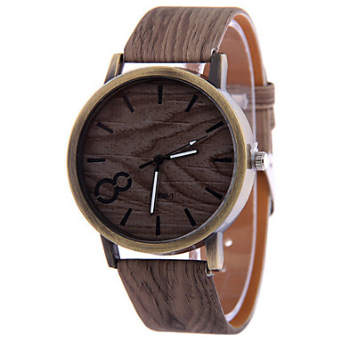 Homens Relógio de Pulso Relógio Madeira Quartzo Relógio Casual Couro Banda Preta Branco