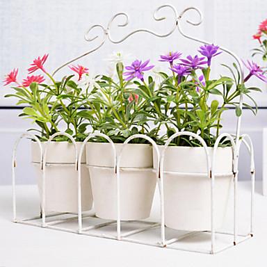 פרחים מלאכותיים בסגנון אירופאי עם אגרטל miniascape להגדיר עבור סט 3pcs / decorartion חלון הבית