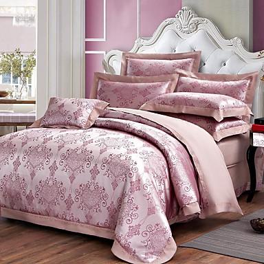 Bettbezug-Sets Blumen 4 Stück Baumwolle Jacquard Baumwolle 1 Stk. Bettdeckenbezug 2 Stk. Kissenbezüge 1 Stk. Betttuch