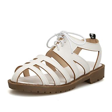 נעלי נשים-סנדלים-דמוי עור-רצועה אחורית / גלדיאטור / פתוח-שחור / חום / לבן-משרד ועבודה / שמלה-עקב נמוך