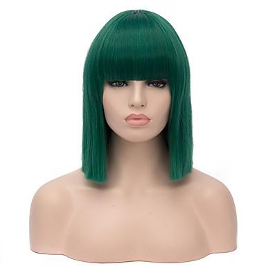 Mulher Perucas sintéticas Curto Reto Verde Peruca de Halloween Peruca de carnaval Peruca para Fantasia