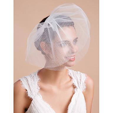 Drittschichtig Schnittkante Hochzeitsschleier Gesichts Schleier Schleier für kurzes Haar Mit Rüschen Tüll