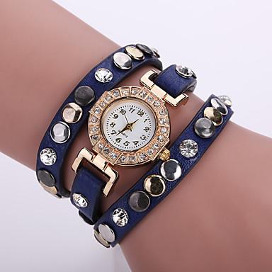 Damen Armband-Uhr Modeuhr Quartz Schlussverkauf Leder Band Blume Böhmische Schwarz Weiß Blau Orange Braun Rosa