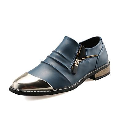 Homens sapatos Couro Verão / Outono Conforto Mocassins e Slip-Ons Preto / Marron / Azul / Casamento / Festas & Noite / Sapatos de couro