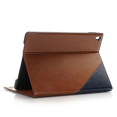 Capinha Para Com Suporte Hibernação / Ligar Automático Capa Proteção Completa Côr Sólida PU Leather para iPad Pro 9.7 ''