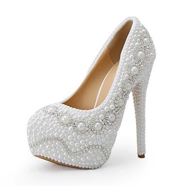Hvit-Bryllup sko-Dame-Hæler-høye hæler-Bryllup / Fest/aften / Formell