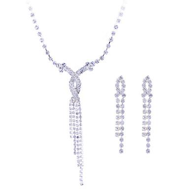 Damen Schmuckset Halskette / Ohrringe Synthetische Edelsteine Sterling Silber Zirkon Silber Diamantimitate Hochzeit Party Ohrringe