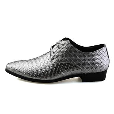 Miehet kengät Tekonahka Kevät Kesä Syksy Talvi Comfort Oxford-kengät Ruutukuvio Käyttötarkoitus Häät Kausaliteetti Juhlat Valkoinen Musta