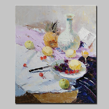 Pintados à mão Abstrato / Vida Imóvel / Floral/Botânico / Paisagens Abstratas / PopModerno 1 Painel Tela Pintura a Óleo For Decoração