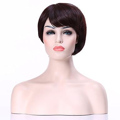 Synthetische Perücken Glatt Braun Damen Kappenlos Synthetische Haare