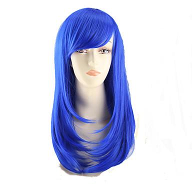 Szintetikus parókák Egyenes Aszimmetrikus frizura Szintetikus haj Természetes hajszálvonal Kék Paróka Női Közepes / Közepes hosszúságú