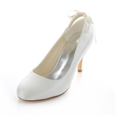 Elfenbenshvit-Bryllup sko-Dame-Hæler / Rund tå-høye hæler-Bryllup / Formell / Fest/aften