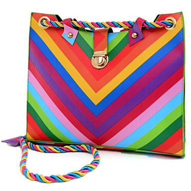 Mujer Bolsos Lona / PU Bolsa de hombro Botones para Casual Arco iris