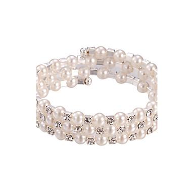 Damen Strass Perle Private Perlenkollektion Mehrreihiges Armband Runde Armreifen Silber Schmuck Hochzeit Party Jahrestag Alltag Normal