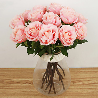 cheap Home Decor-Artificial Flowers 1 Branch European Style Roses Tabletop Flower